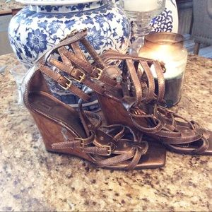 Report Leather Strap Zip Back Wood Wedge heels